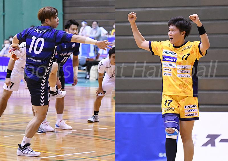 初の得点王に輝いた男子:稲毛(左)と、2季連続2回目の藤井(右)